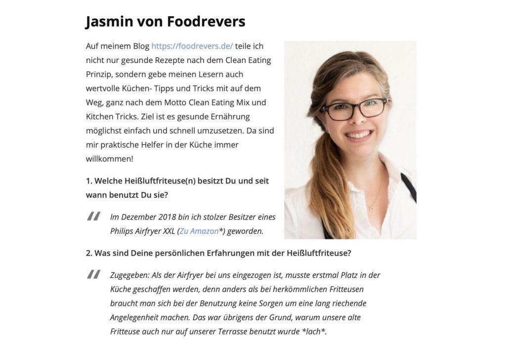 Foodrevers Airfryer gesund Heißluftfritteuse