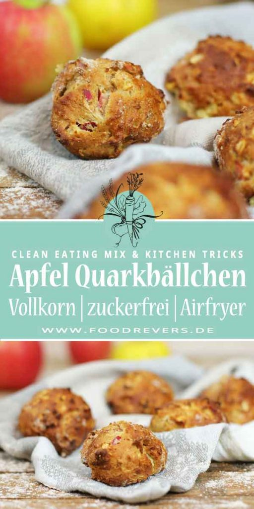 Gesunde Apfel Quarkbällchen zuckerfrei Clean Eating Foodrevers Airfryer Pampered Chef Thermomix
