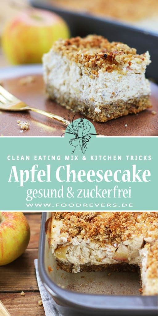 Apfel Cheesecake mit Streuseln zuckerfrei gesund Clean Eating Pampered Chef Ofenhexe